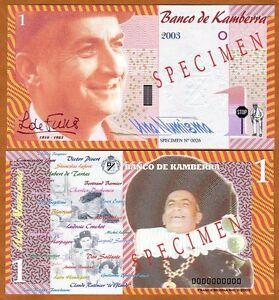 Specimen-Kamberra-Kingdom-1-Numisma-2003-UNC-gt-Louis-de-Funes