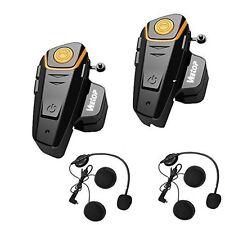 Motorcycle Bluetooth Headset Helmet Intercom Communication System Waterproof NEW