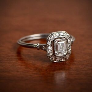 1 80ct Antique Art Deco Emerald Cut Diamond Engagement