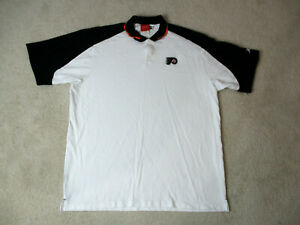 Reebok-Philadelphia-Flyers-Polo-Shirt-Adult-2XL-XXL-White-Black-NHL-Hockey-Mens