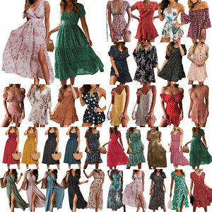 Damen Strandkleid Partykleid Freizeit Sommerkleid Beach Maxikleid BOHO Minikleid