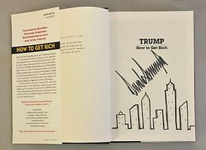 President Donald Trump Signed HOW TO GET RICH Book RARE NYC Skyline Drawing JSA