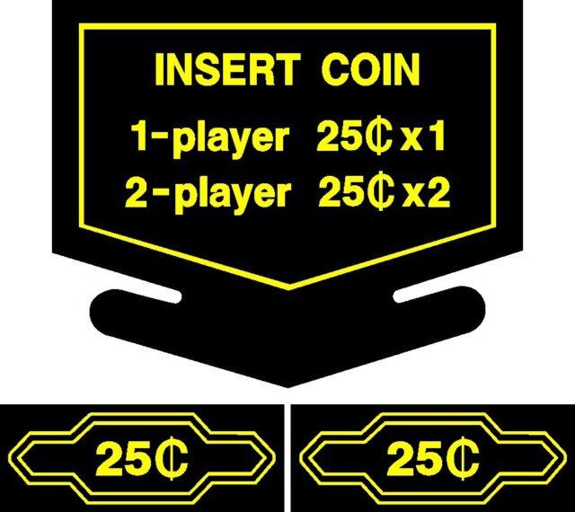 Arcade Coin Decals White 2 ea