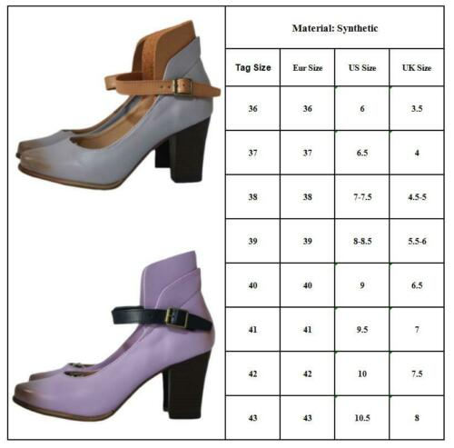 Womens High Block Heel Ankle Strap Buckle Pointed Toe Shoes Party Pumps Sandals