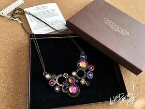 SORRELLI-Mutli-Modern-Circle-Bib-Crystal-Necklace-AURORA-SKY-NCE10AGAUS-Rare