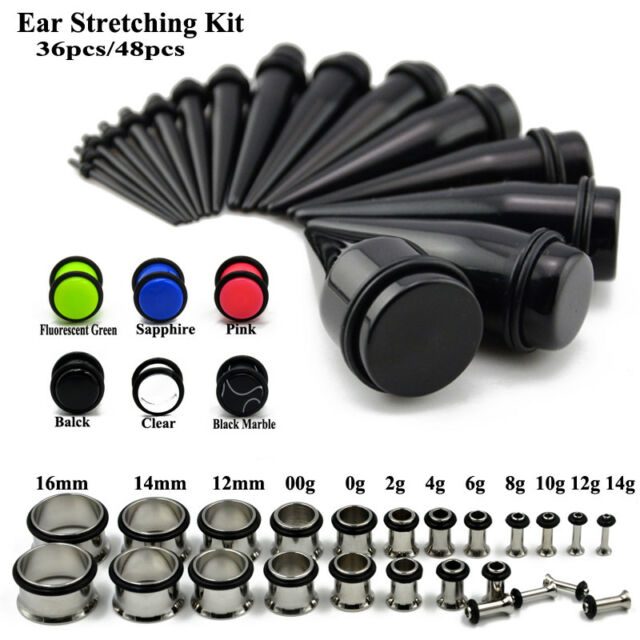 36PC Punk Acrylic Ear Gauges Ear Plug Ear Tunnel Expander Starter Stretching Kit