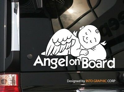 "Cute Vinyl Car Decal Sticker 7.75/"" W Baby on Board Angel in Car"