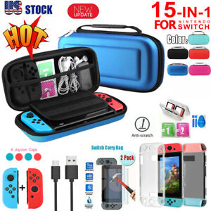 US Carry Case Bag+Shell Cover+Charging Cable+Full Protector for Nintendo Switch