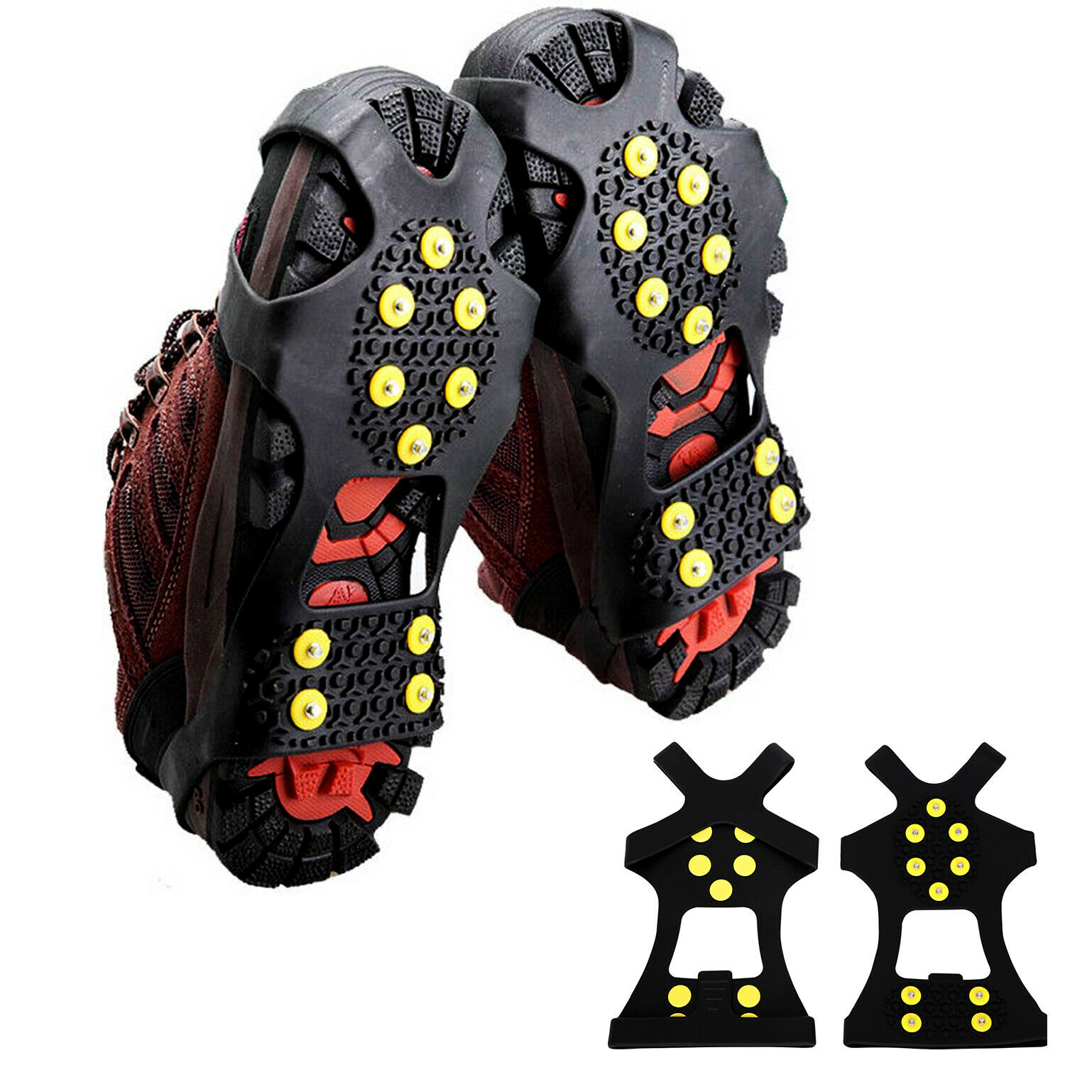 Wanshop Ice Snow Grips Replacements Ice Snow Cleat Shoe Boot Traction Cleat Spikes Anti Slip Steel Studs Crampon for Winter Outdoor Hiking Climbing Fishing