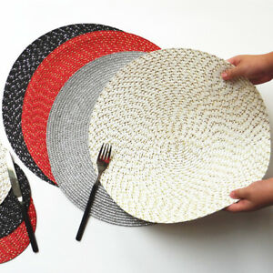 Set of 4/8 Round PP Woven Non-slip Heat Insulation Placemats kitchen table mats