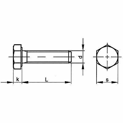 Hexagonal Vis m10 x 50 Acier Jaune galvanisé 8.8 DIN 933 100 Lots 01230100050