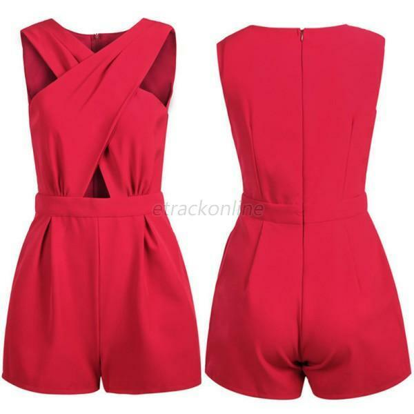 Fashion Women's V Neck Playsuit Bodycon Jumpsuit Rompers Trousers Clubwear Party