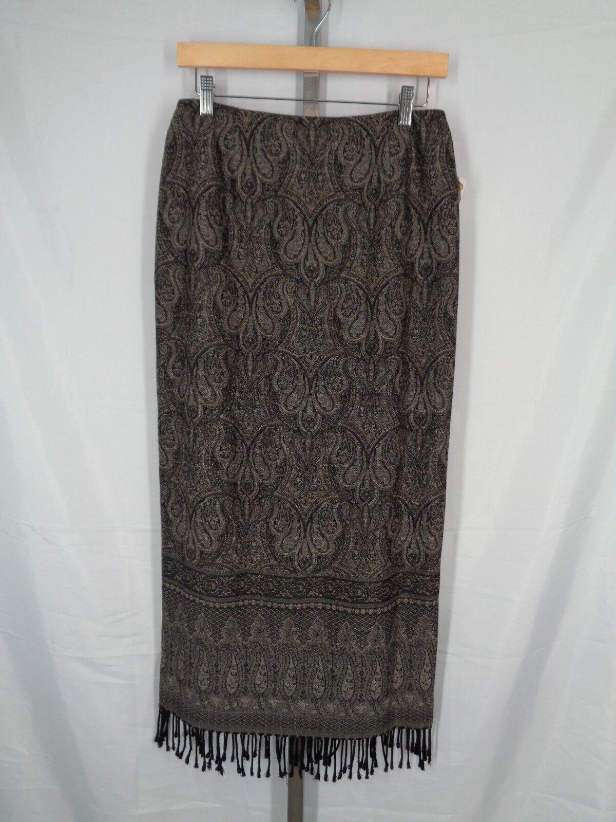 Talbots Skirt Size 8 Paisley Tapestry Fringe Long Wool New