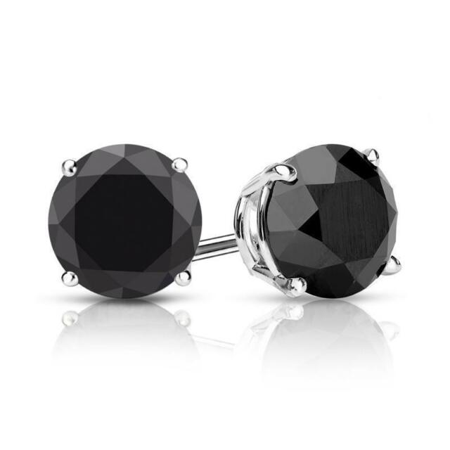 6464fdb396193d 2 Ct Black Diamond Stud Earrings 6MM Women and Mens Stud Earring 14k White  Gold for sale online