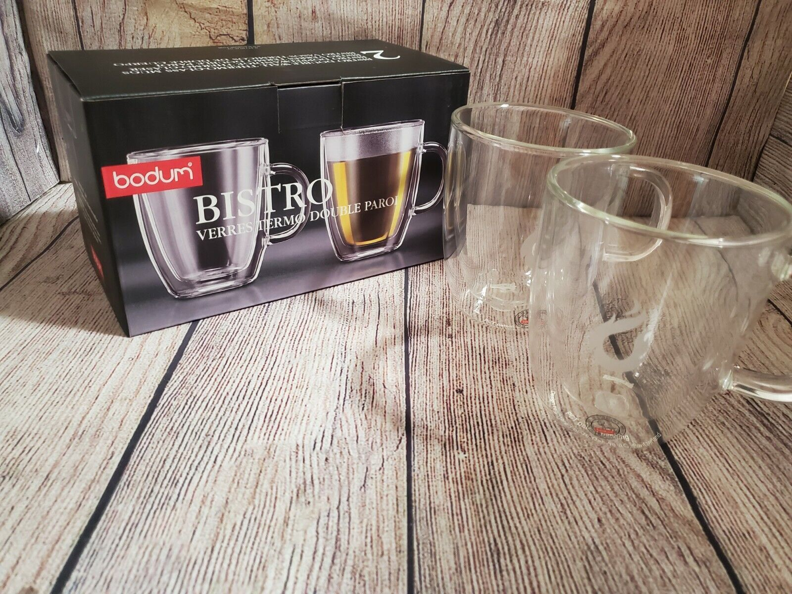set of 2 Bodum 10604-10US4 Bistro Double Wall Clear 10-ounce Glasses Clear