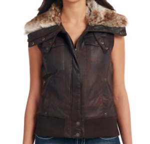 Cripple Creek Women's Faux Fur Lining Aviator Vest, Size Small (RS3-4)