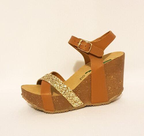 Wedge Leather Gold Glitter Genuine Tan Rrp£88 Brown Sandals 29a804 Bionatura xU6wYq