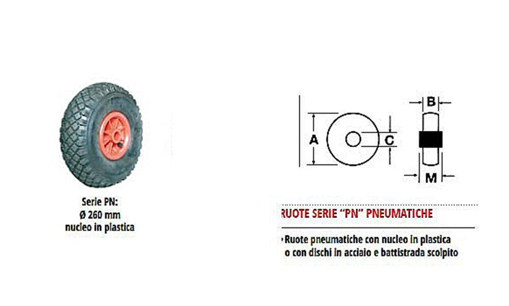 RUOTA PNEUMATICA GONFIABILE BATTISTRADA SCOLPITO PLASTICA 260x85MM 120KG NUCLEO PLASTICA SCOLPITO 2a5591