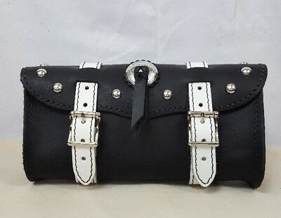 """Handmade Crazy Horse Brown Leather 11/"""" Motorcycle Tool Bag with Studs /& Concho"""