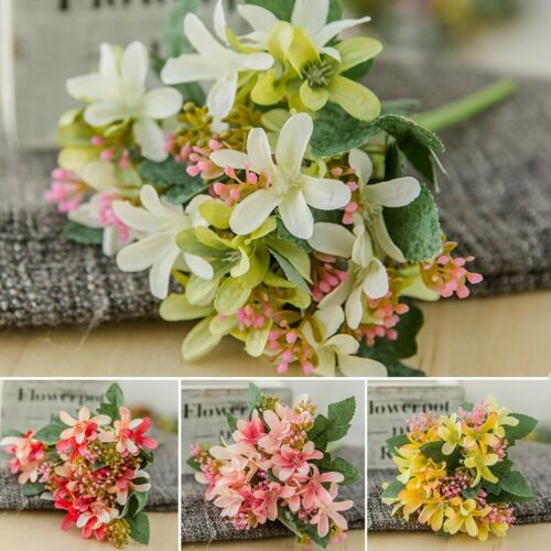 5 Heads Artificial Fake Flowers plastic Narcissus lily Bouquet Home Decor