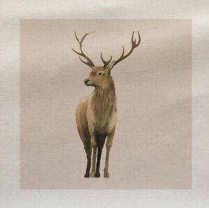 Vintage Deer Illustration Fabric Panel Make Cushion Upholstery Craft