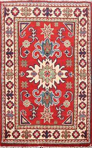 Geometric-RED-IVORY-Super-Kazak-Oriental-Area-Rug-Wool-Hand-Knotted-2x3-Carpet