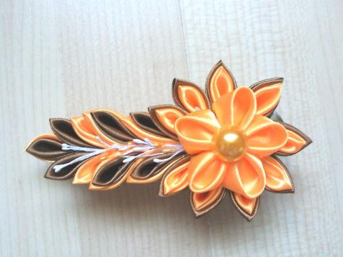 Kanzashi Blumen Haarklammer Orange Satinblumen Haarschmuck Kopfschmuck Kanzashi*