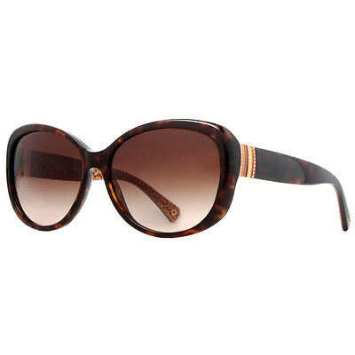Coach HC8040B L520 Keri 5033/13 Dark Havana Brown Women's Sunglasses w/ Crystals