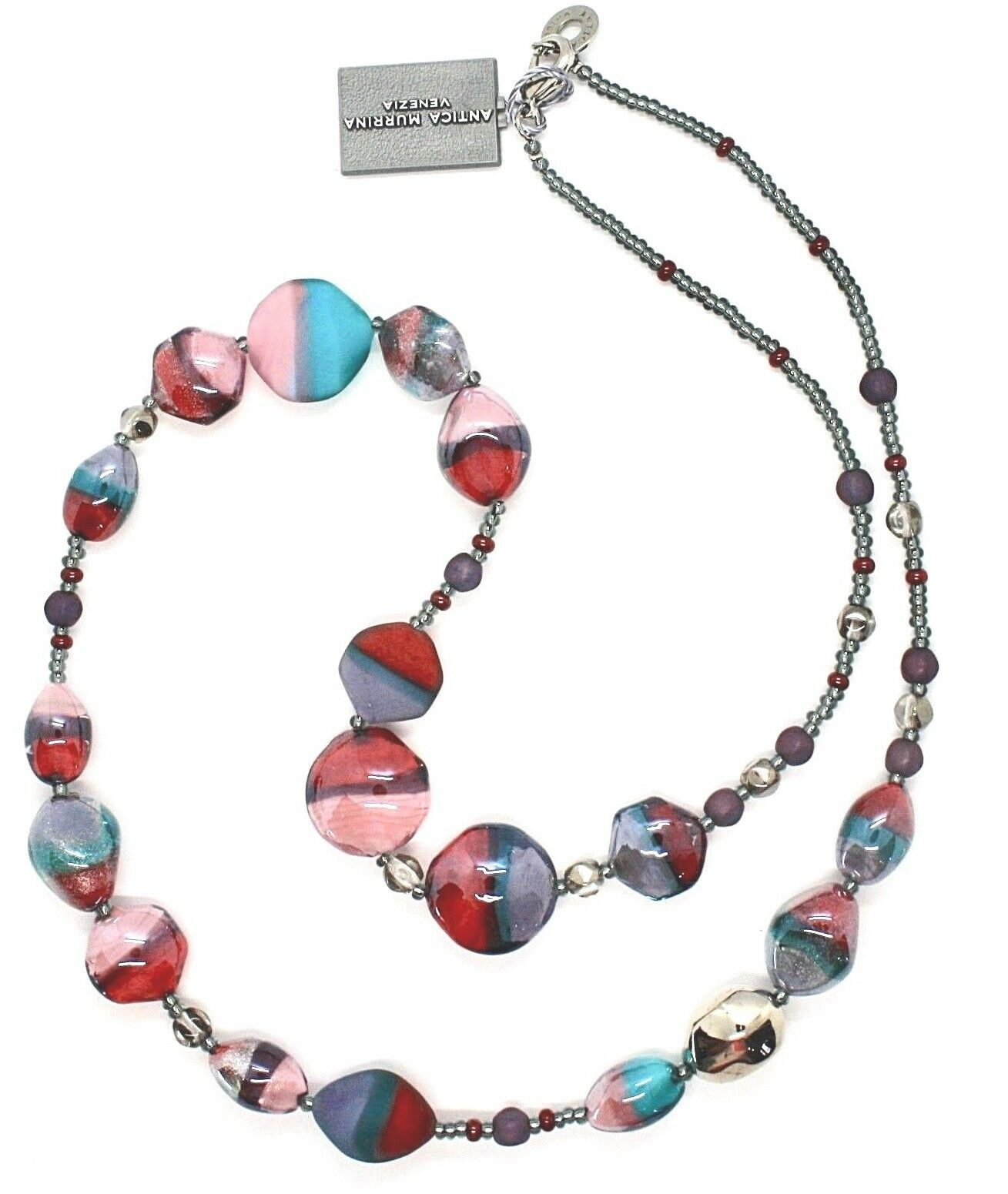 COLLIER ANTICA MURRINA VENEZIA AVEC VERRE DE MURANO purple blue pink CO979A04