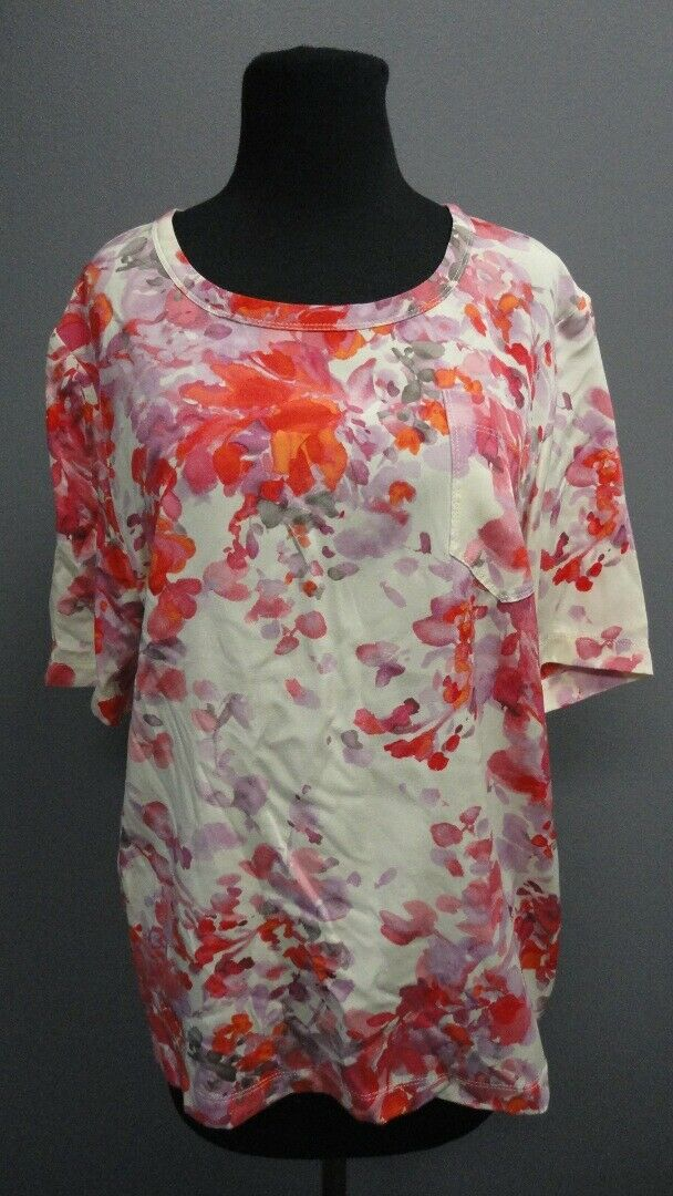 ST. JOHN Palomino Silk Floral Short Sleeves Casual Blouse Top NWT Sz L GG4292