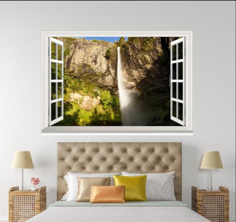 3D Waterfall 5013 Open Windows WallPaper Murals Wall Print Decal Deco AJ Summer