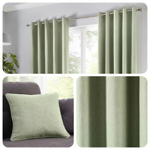 Fusion-SORBONNE-Plain-Green-100-Cotton-Eyelet-Curtains-or-Cushions
