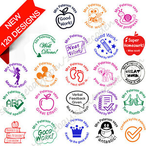 Details About Custom Name Self Inking Personalized Signature School Teacher Rubber Stamp 28mm