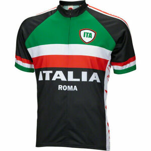World-Bicycle-Jerseys-Italia-Men-039-s-Cycling-Bike-Jersey-Black-MD