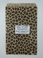 Qty. 100 Leopard Print Design Paper Merchandise 6 X 9 Bag Retail Shopping