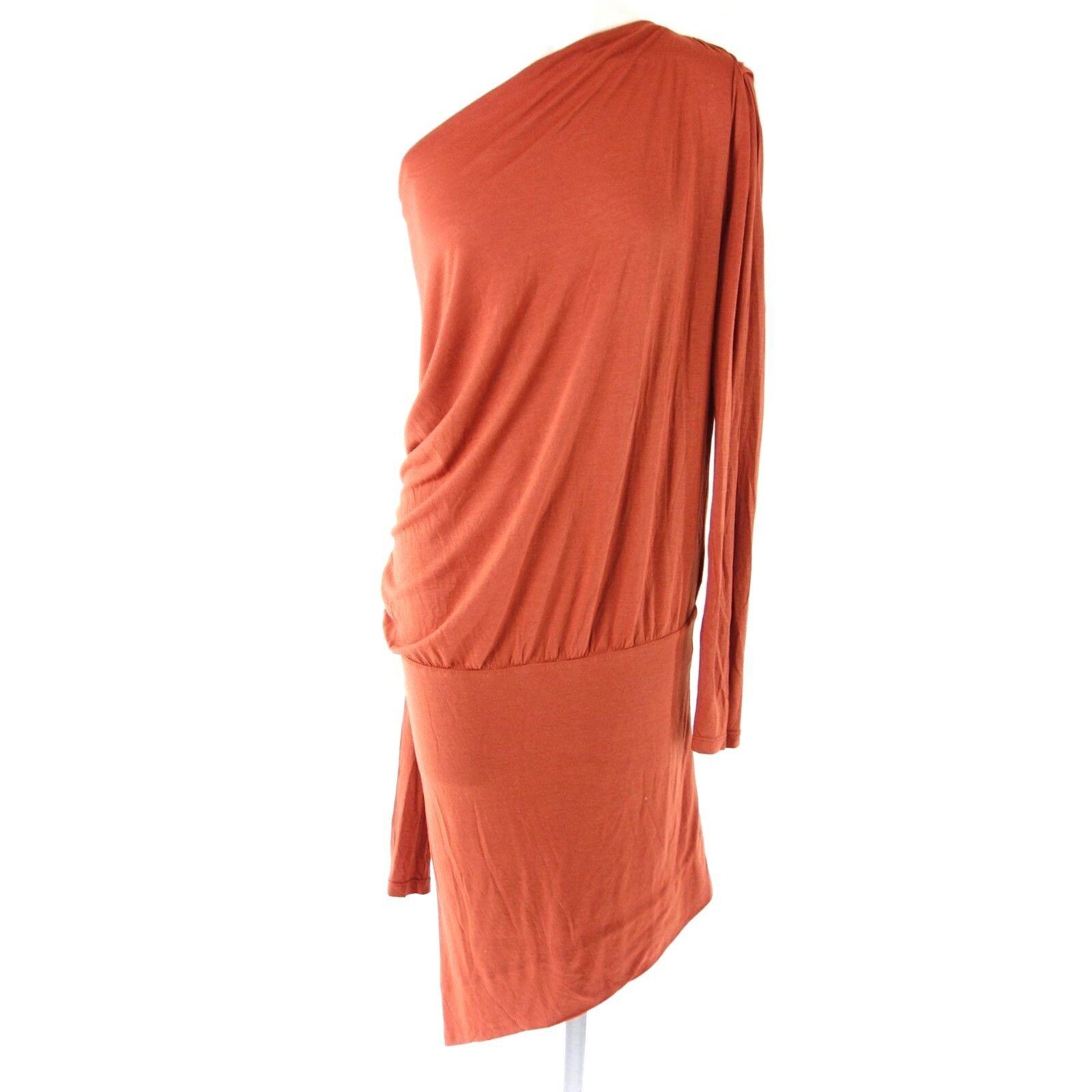 Deha Damen Jersey Kleid M 38 Rot One Shoulder Shirtkleid Modal Wolle Np 79 Neu