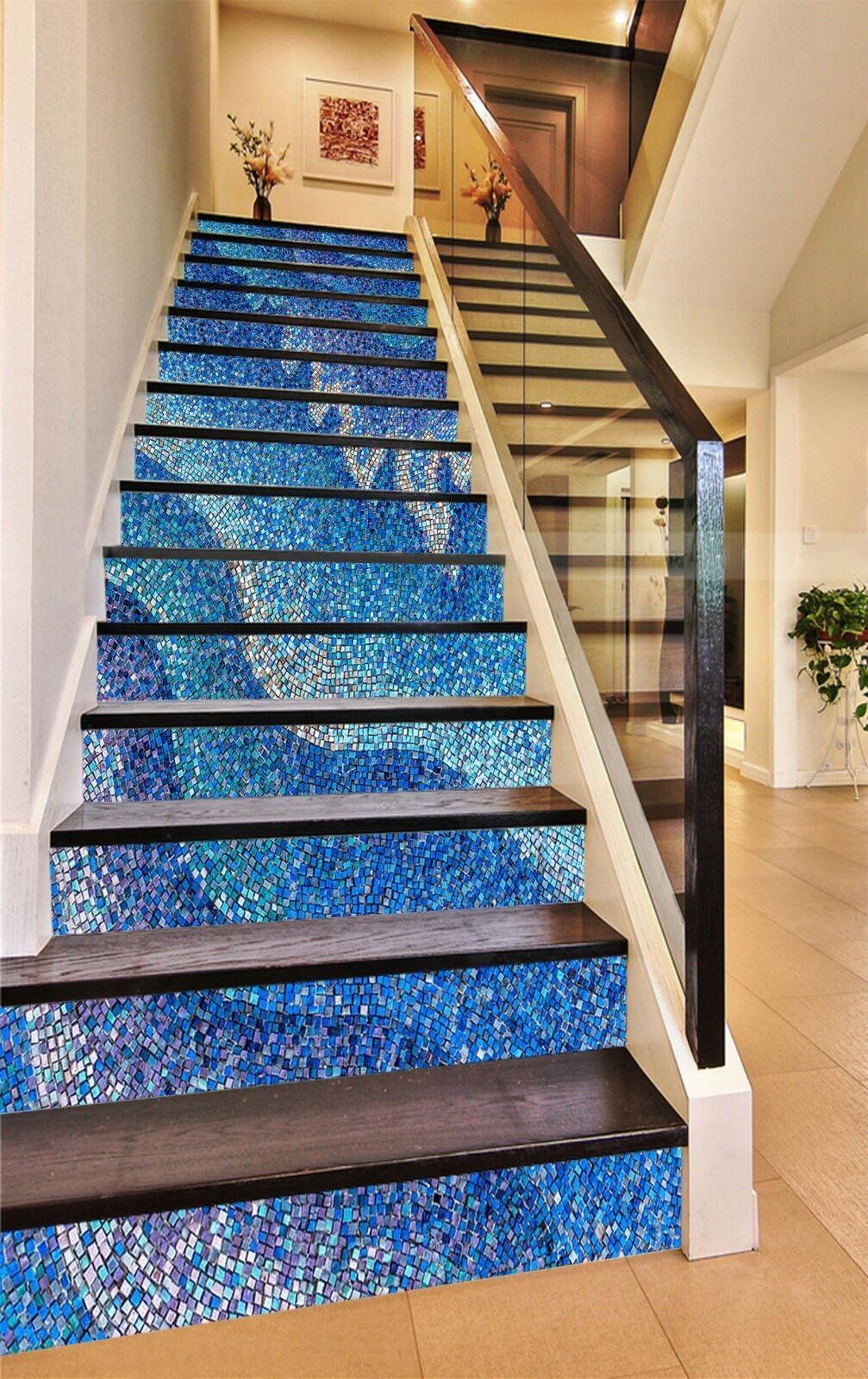 3D Blaue Welle 8 Fliese Marmor Stair Risers Fototapete Vinyl Aufkleber Tapete