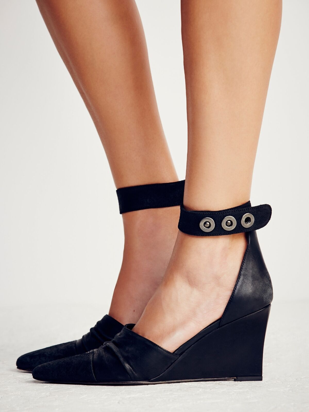 Free People Shadow Dancer Women's Black Leather Wedge Heels 38/8M MSRP $228