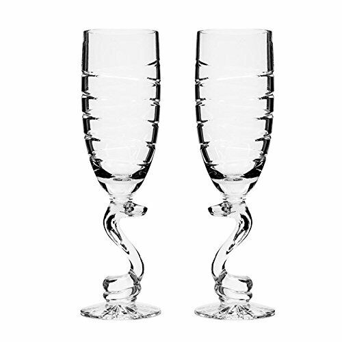 Neman Glassworks, 10-Oz Russian Crystal Champagne Flutes, Wedding Glasses Set