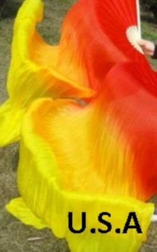 Belly Dance Silk Fan Veils 100/% 1.8m Top Quality USA Store Quick Shipping