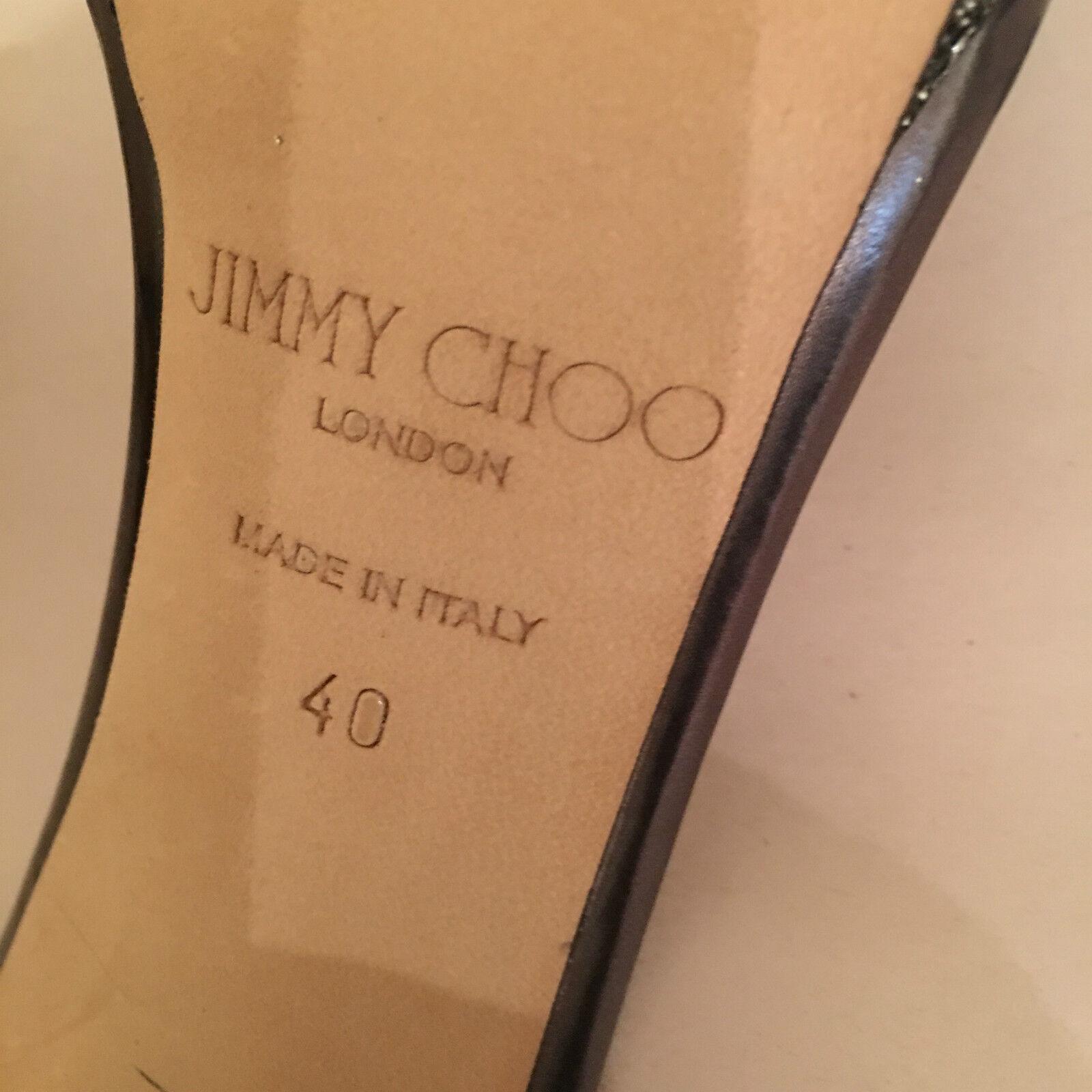 Nuevo Nuevo Nuevo Jimmy Choo Claudette 120MM Antracita Lame Brillo Tacón Sandalia Talla 40 b1b7c3