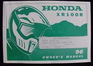 GENUINE-1996-HONDA-100-XR100R-DIRT-BIKE-MOTORCYCLE-OPERATORS-MANUAL-VERY-GOOD