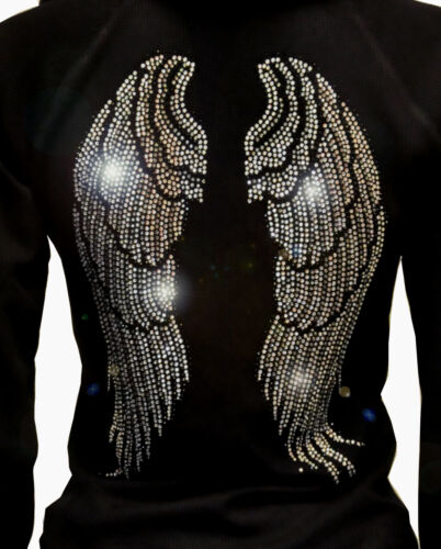 Winter LADY PLUS SIZE Angel Wings Rhinestone Hoodie Sweater Thick /& Full Zip-Up