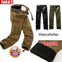 Mens Winter Fleece Army Cargo Combat Work Pocket Long Pants Trousers