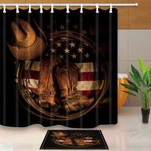 western cowboy shoes on american flag shower curtain set bathroom rh ebay com cowboy cowgirl bathroom decor praying cowboy bathroom decor