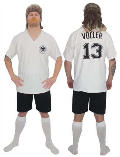 Gli adulti calcio Germania icona Rudi maligna KIT Fancy Dress /& Triglia con Tash