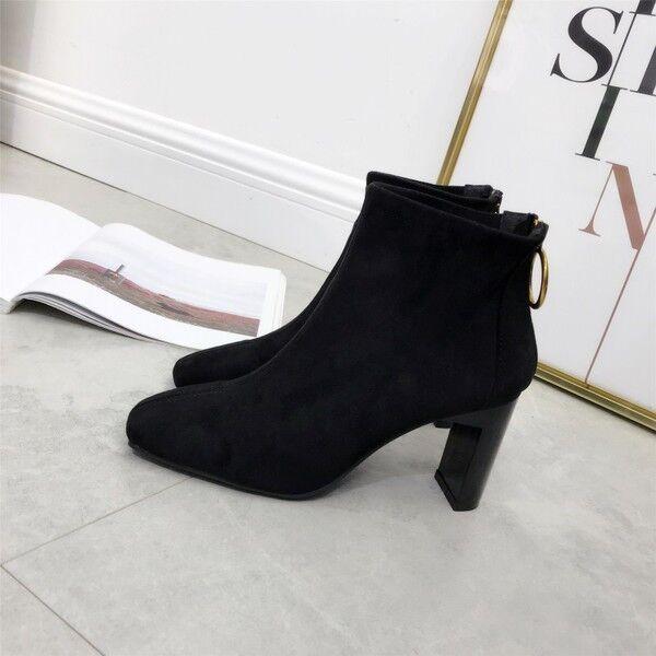 Bottes basses confortable 8 cm cheville noir élégant comme cuir 9540