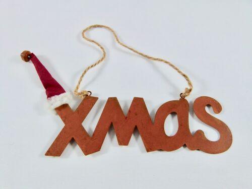Edelrost X M A S Schriftzug mit Nikolausmütze Rost Advent Weihnachten