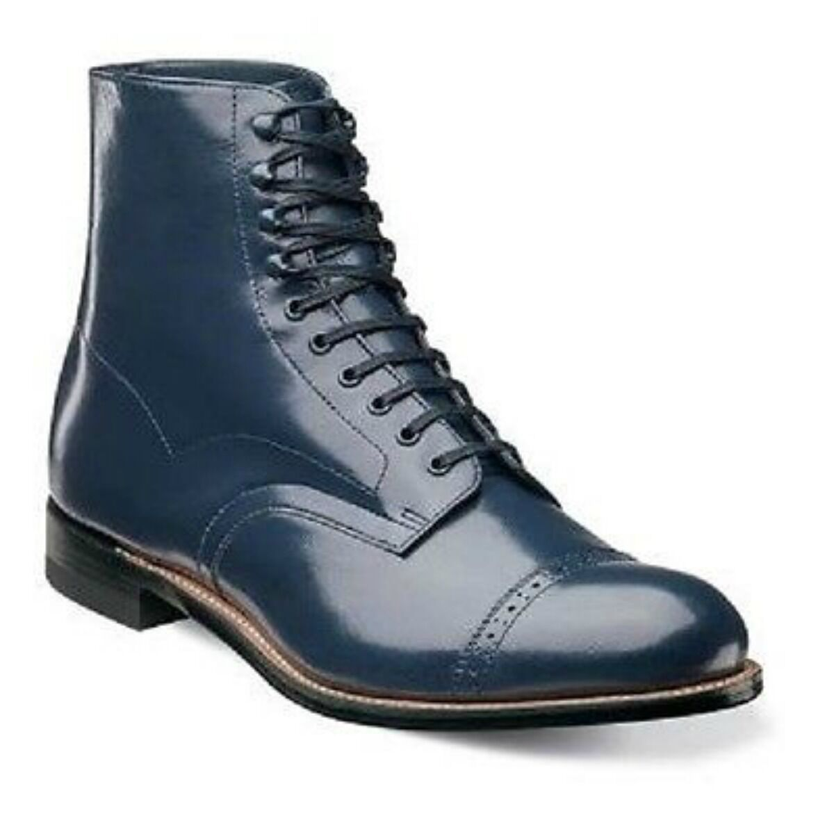 New Up Stacy Adams Uomo Madison Cap Toe Lace Up New Ankle Boots Navy Leather 00015-410 b93db3