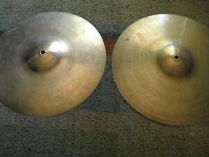 "14"" Vintage Vibra Zanchi Light Charleston Hi Hats Cymbales 700 G Made In Italy-afficher Le Titre D'origine Couleurs Harmonieuses"